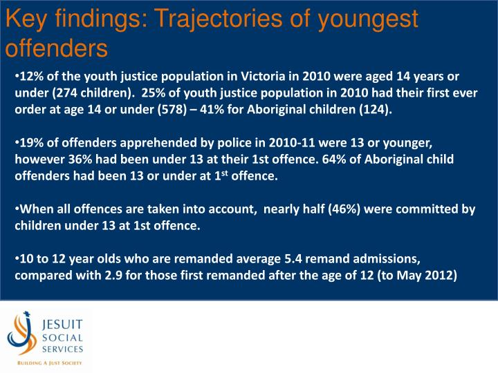Key findings: Trajectories of youngest offenders
