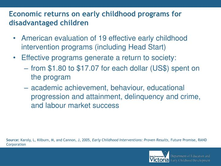 Economic returns on early childhood programs for disadvantaged children