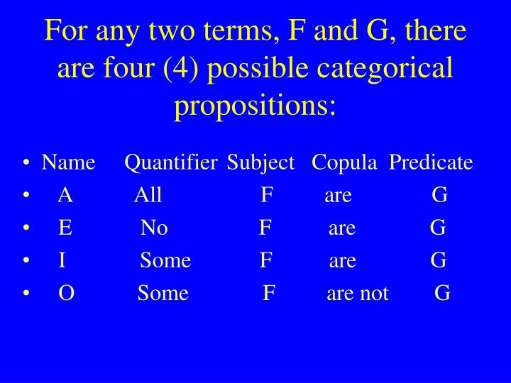 For any two terms, F and G, there are four (4) possible categorical propositions: