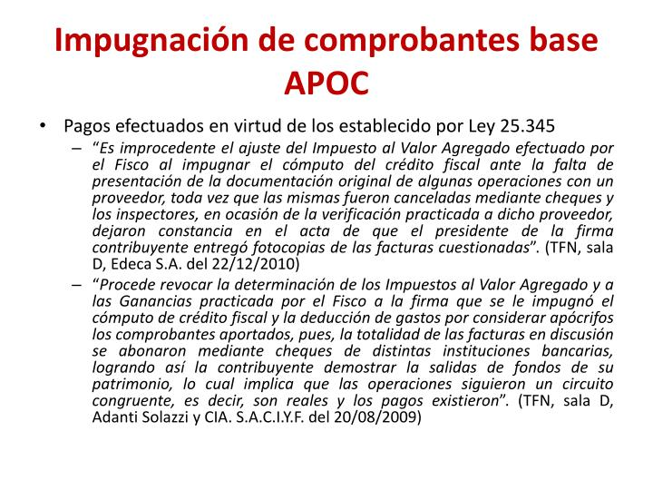Impugnación de comprobantes base APOC