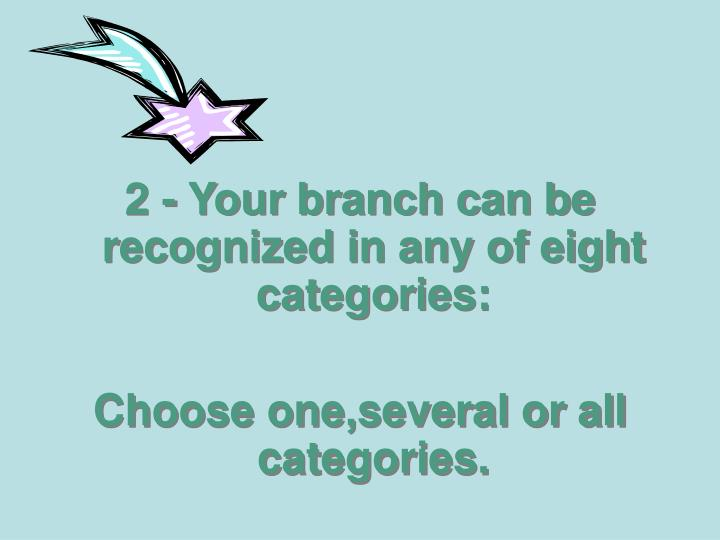 2 - Your branch can be recognized in any of eight categories: