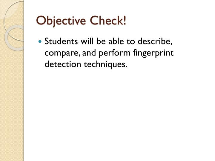 Objective Check!