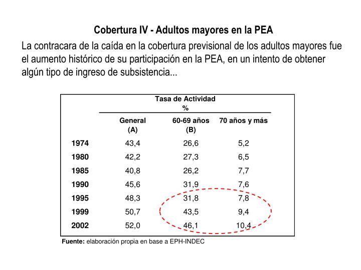 Cobertura IV - Adultos mayores en la PEA