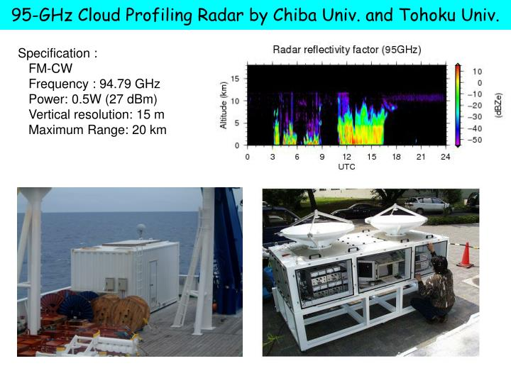 95-GHz Cloud Profiling Radar by Chiba Univ. and Tohoku Univ.