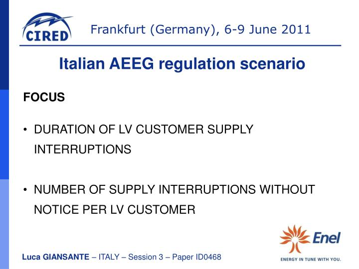 Italian AEEG regulation scenario