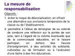 la mesure de responsabilisation