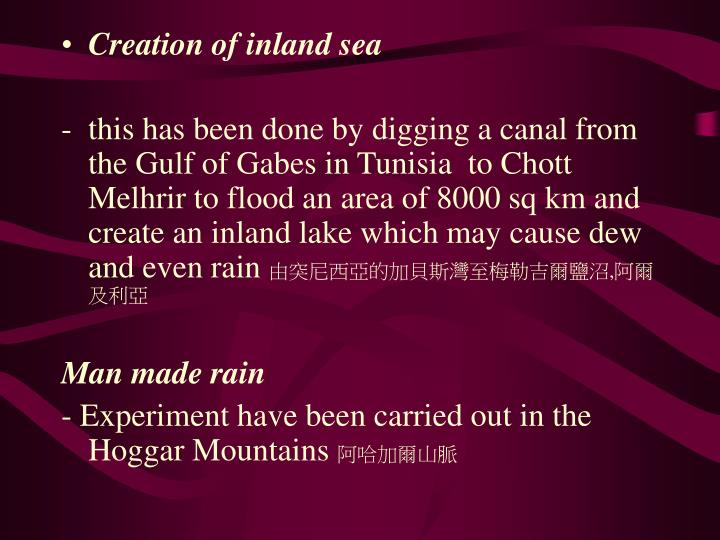 Creation of inland sea