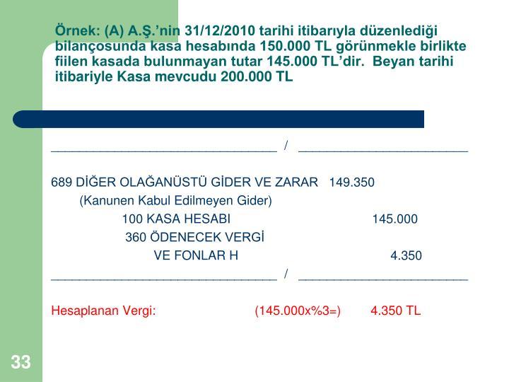 rnek: (A) A..nin 31/12/2010 tarihi itibaryla dzenledii bilanosunda kasa hesabnda 150.000 TL grnmekle birlikte fiilen kasada bulunmayan tutar 145.000 TLdir.  Beyan tarihi itibariyle Kasa mevcudu 200.000 TL