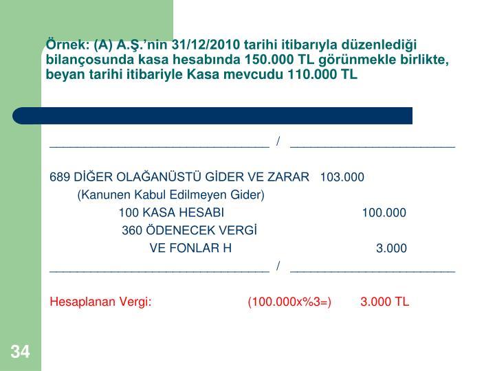 rnek: (A) A..nin 31/12/2010 tarihi itibaryla dzenledii bilanosunda kasa hesabnda 150.000 TL grnmekle birlikte, beyan tarihi itibariyle Kasa mevcudu 110.000 TL