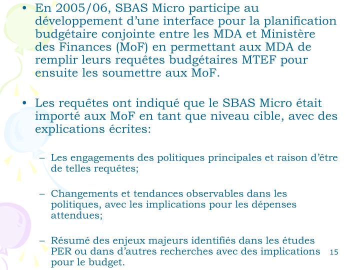 En 2005/06, SBAS Micro participe au développement d'une interface pour la planification budgétaire conjointe entre les MDA et Ministère des Finances (MoF) en permettant aux MDA de remplir leurs requêtes budgétaires MTEF pour ensuite les soumettre aux MoF.