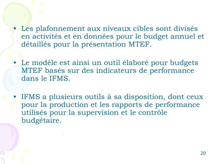 Les plafonnement aux niveaux cibles sont divisés en activités et en données pour le budget annuel et détaillés pour la présentation MTEF.