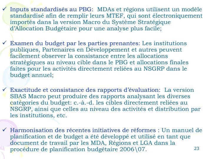 Inputs standardisés au PBG: