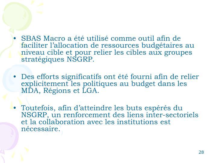 SBAS Macro a été utilisé comme outil afin de faciliter l'allocation de ressources budgétaires au niveau cible et pour relier les cibles aux groupes stratégiques NSGRP.