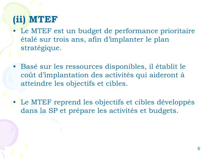 (ii) MTEF