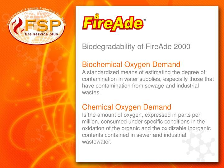 Biodegradability of FireAde 2000