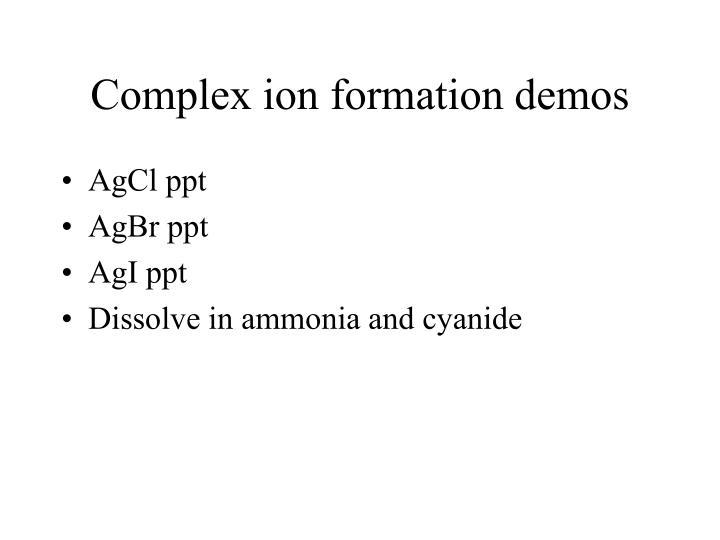 Complex ion formation demos