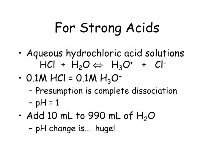 For Strong Acids