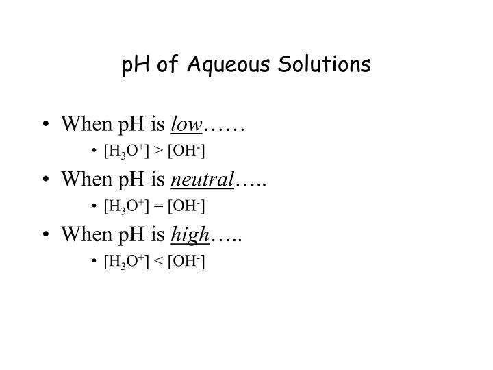 pH of Aqueous Solutions