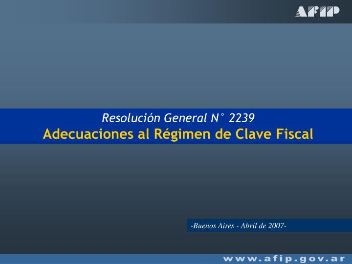 Resolución General N° 2239