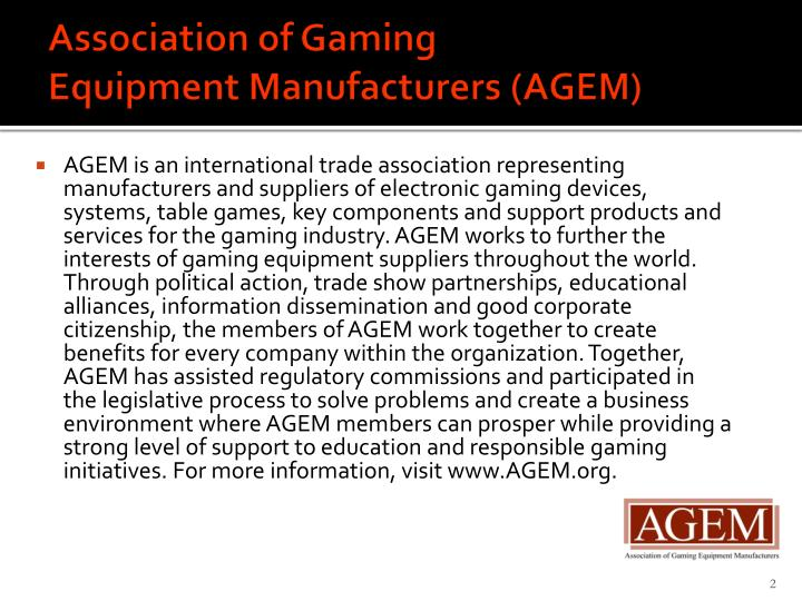 Association of gaming equipment manufacturers agem
