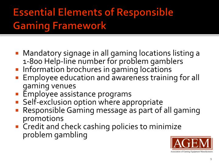 Essential Elements of Responsible Gaming Framework