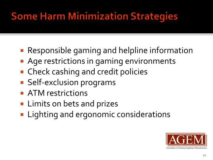 Some Harm Minimization