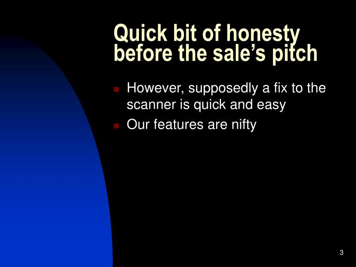 Quick bit of honesty before the sale's pitch