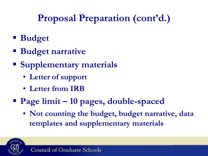 Proposal Preparation (cont'd.)