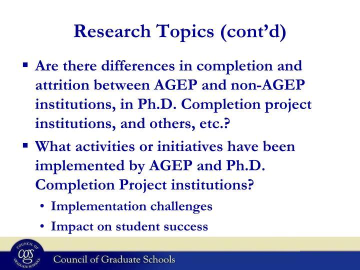 Research Topics (cont'd)