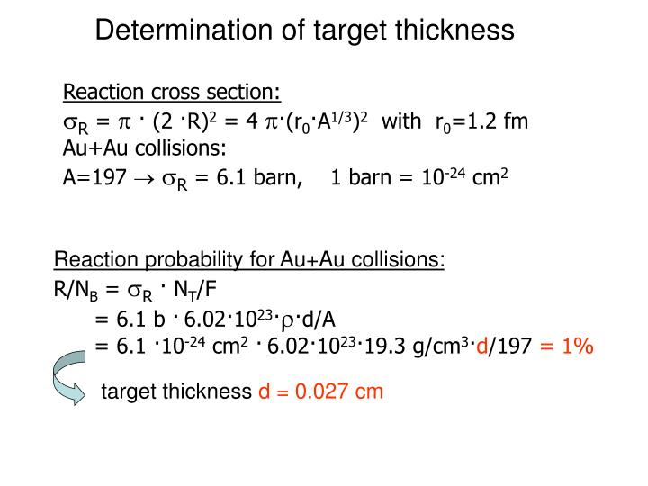 Determination of target thickness