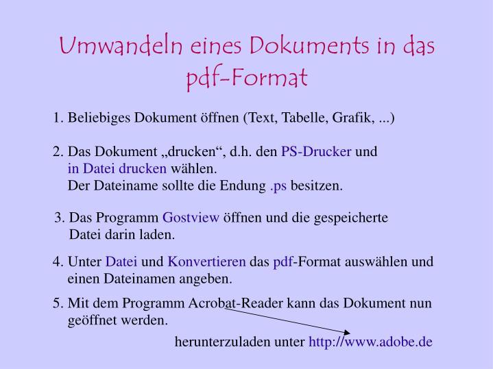 Umwandeln eines Dokuments in das pdf-Format