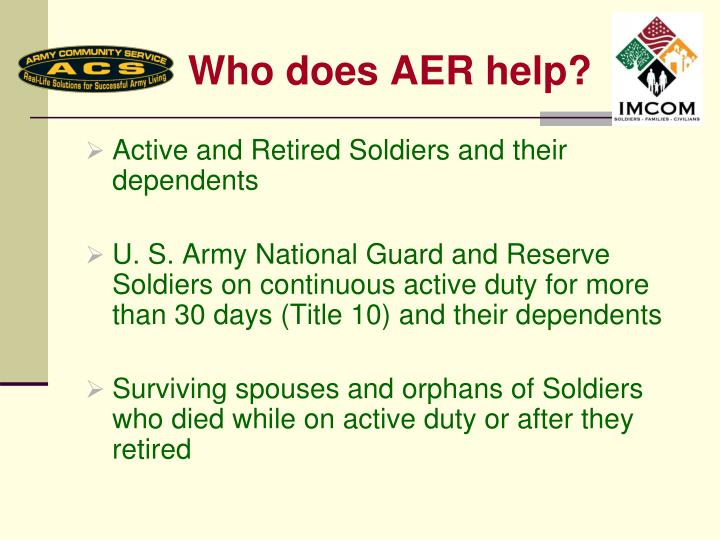 Who does AER help?