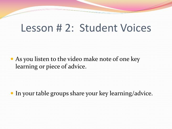 Lesson # 2:  Student Voices