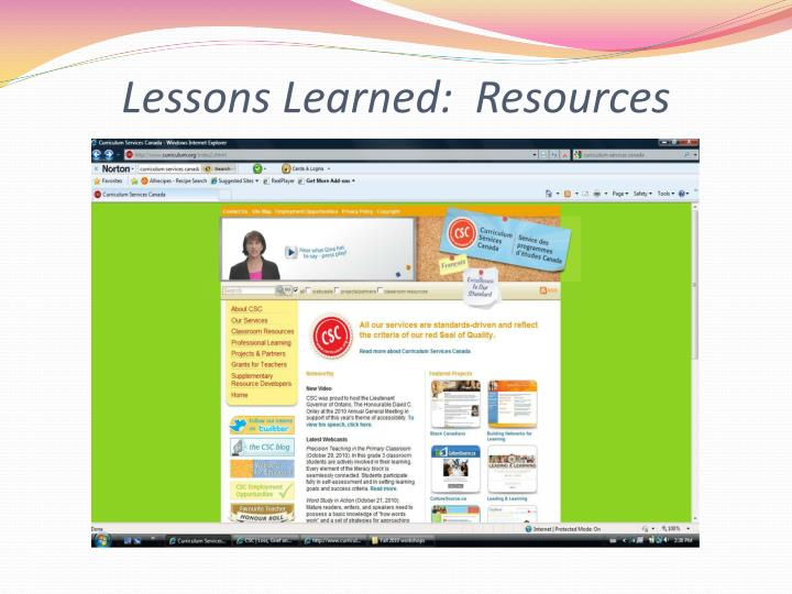 Lessons Learned:  Resources