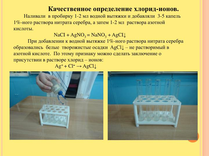 Качественное определение хлорид-ионов.
