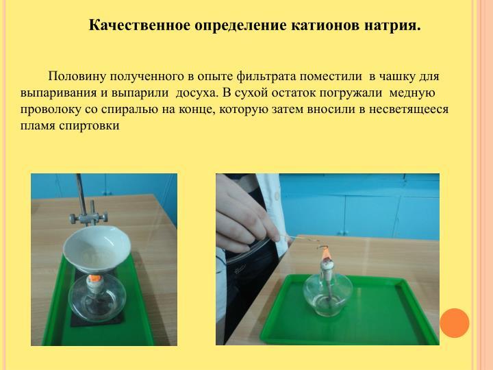 Качественное определение катионов натрия.