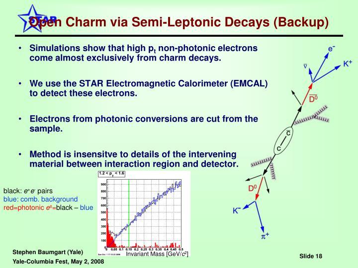 Open Charm via Semi-Leptonic Decays (Backup)
