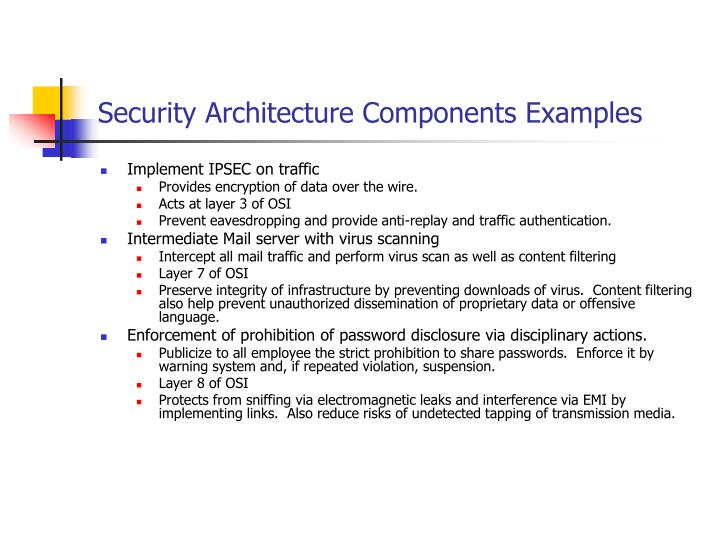 Security Architecture Components Examples