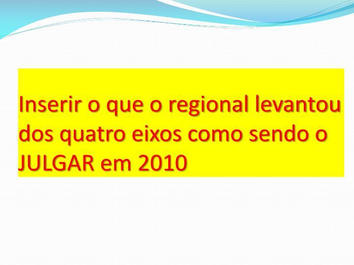 Inserir o que o regional levantou dos quatro eixos como sendo o JULGAR em 2010