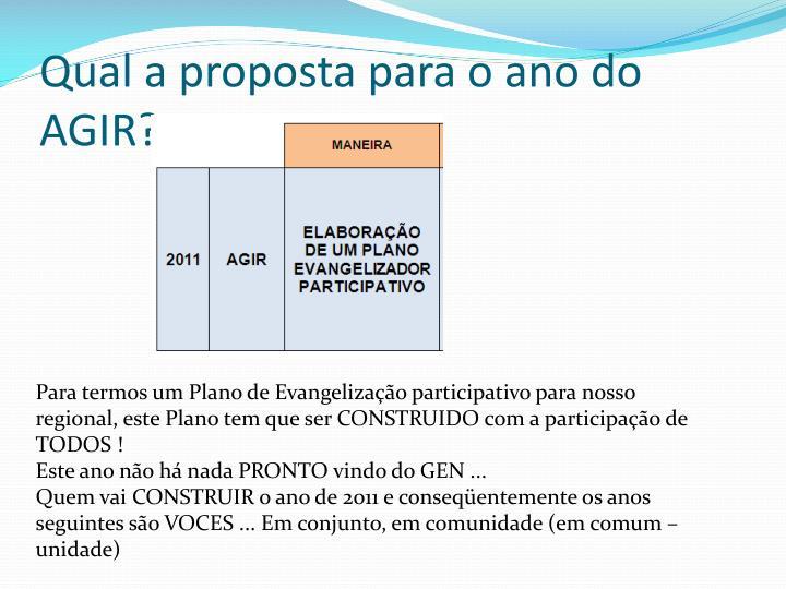 Qual a proposta para o ano do AGIR?