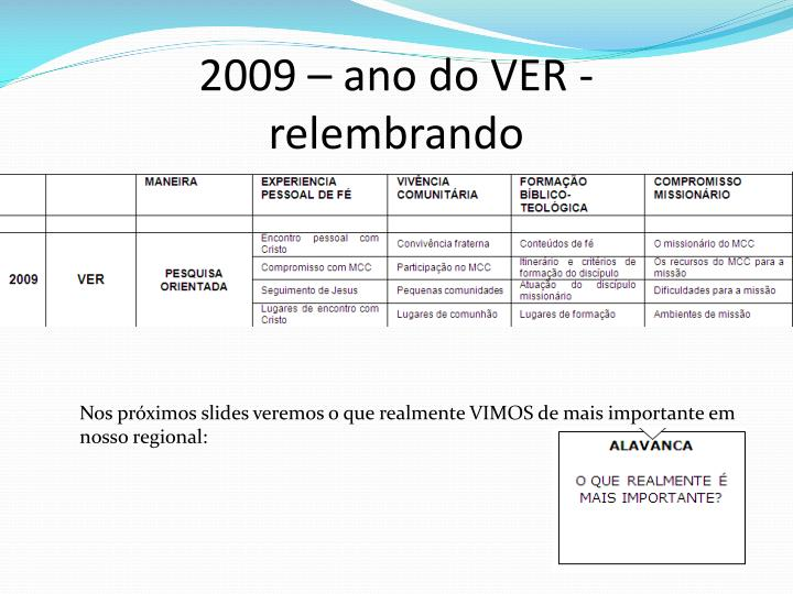 2009 – ano do VER - relembrando