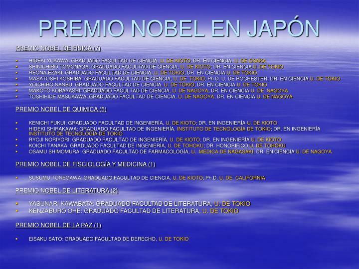 PREMIO NOBEL EN JAPÓN