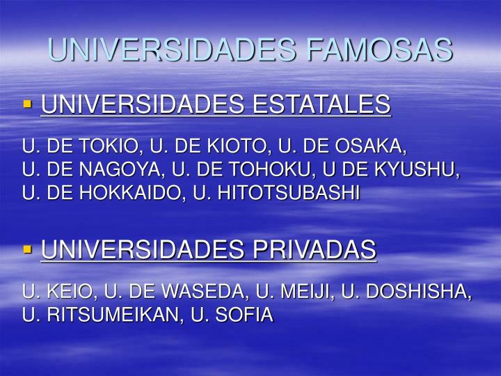 UNIVERSIDADES FAMOSAS