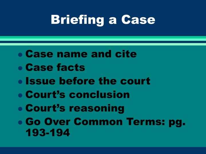 Briefing a Case