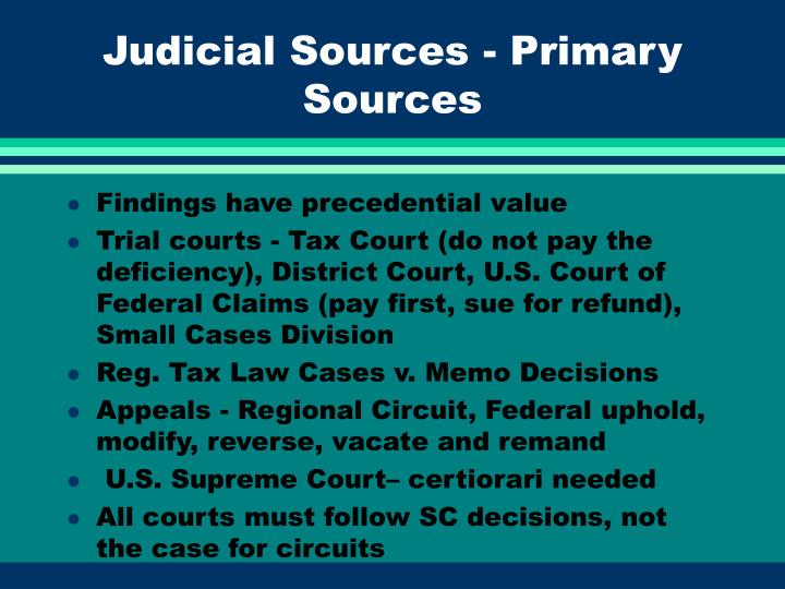 Judicial Sources - Primary Sources