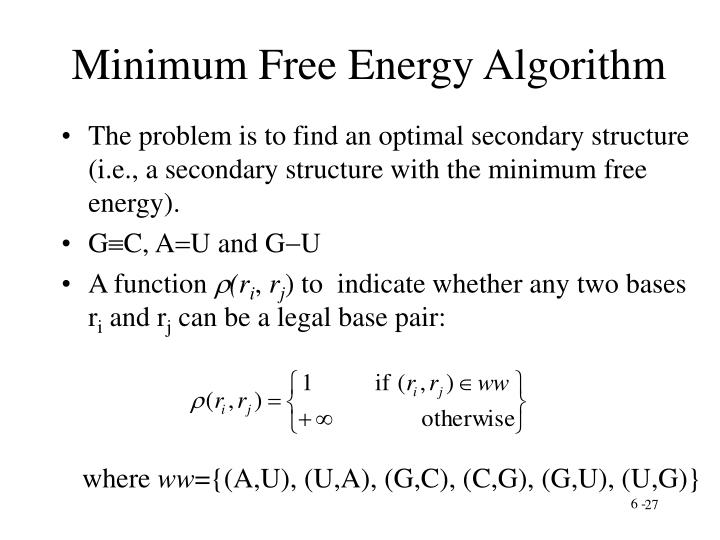 Minimum Free Energy Algorithm