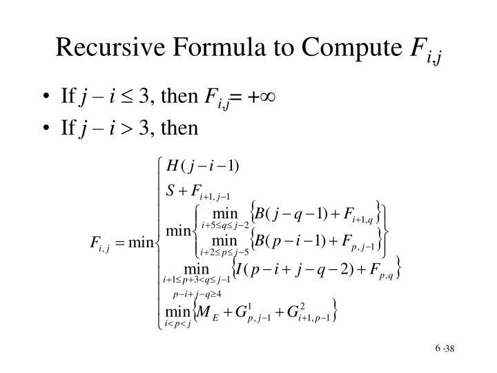 Recursive Formula to Compute