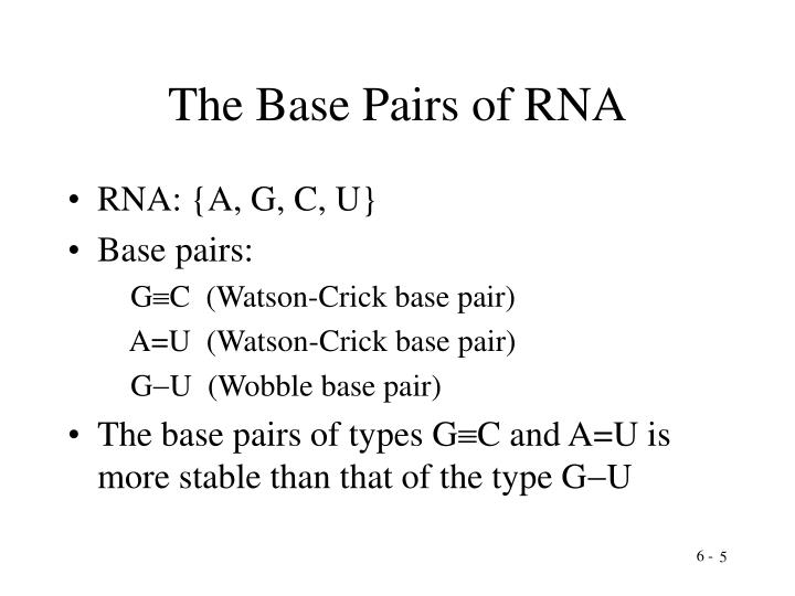 The Base Pairs of RNA