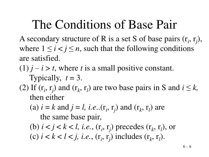 The Conditions of Base Pair