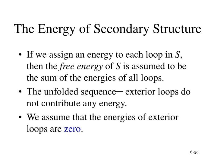 The Energy of Secondary Structure